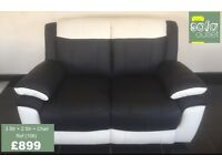 Designer Black & White Leather 3 + 2 Seater sofas + Chair (106) £899
