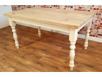 Rustic Chunky European Oak Dining Table Antique Manor House Finish Full Stave - Any Size