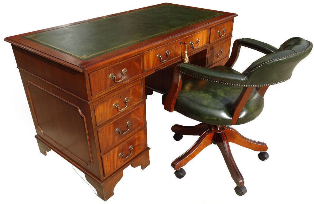 Stunning Antique Reproduction New Leather Top Pedestal Desk(Key)+Captains  Chair - Stunning Antique Reproduction New Leather Top Pedestal Desk(Key)+