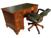 Stunning Antique Reproduction New Leather Top Pedestal Desk(Key)+Captains Chair