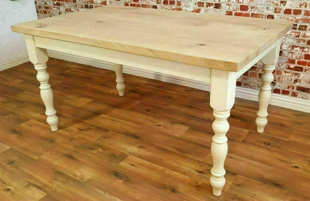 Oak Chunky European Rustic Wood Kitchen Dining Table Natural Farmhouse Full Stave Free Delivery In Cardiff Bay Cardiff Gumtree