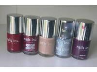 5x Nails Inc nail varnish / nail polish unused