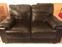 Leather sofa 2 seater in chocolate brown