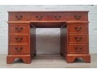 Leather Topped Yew Wood Desk (DELIVERY AVAILABLE FOR THIS ITEM OF FURNITURE)