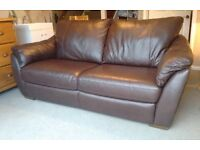 Brown leather sofa, 3 seater