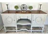 Stunning Vintage Grey Hand Painted Unique Mahogany Sideboard   1930's   Cabinet   dresser 