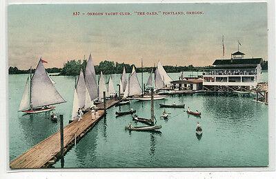Oregon Yacht Club Sail Boats Portland OR 1910c postcard