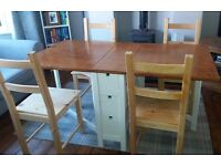 Ikea Norden Shabby Chic Farmhouse style drop leaf table and 4 chairs RRP £210