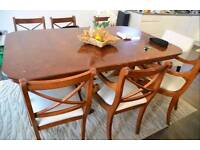 Lovely 6-seater reproduction dining set in dark wood
