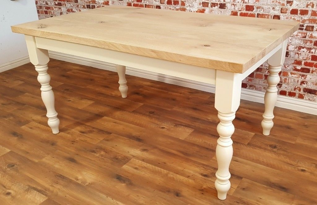Oak Chunky European Rustic Wood Kitchen Dining Table Natural Farmhouse Full Stave Free Delivery