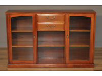 Attractive Simple Vintage Mahogany Floor Bookcase With Shelves and Drawers