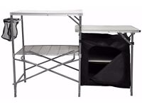 new Camping Field Kitchen Worktop Table Stand With Cupboard brand new