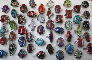 Wholesale Lots 25pcs oversize Nature Gemstone stone silver Plated Women rings