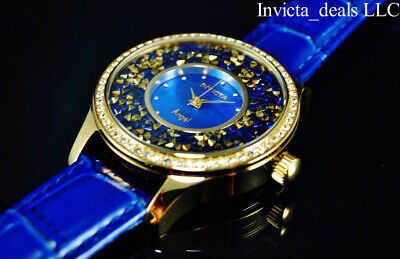 Invicta Women's Angel Quartz Crystal Accented Blue MOP Dial 18K GP Leather Watch