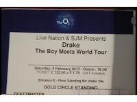 2x Drake @ the O2 London Sat 4th Feb 17 ** GOLD CIRCLE STANDING** PREMIUM PLATINUM TICKETS