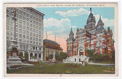 City Hall Royal Bank Of Canada Winnipeg Manitoba 1927 Postcard