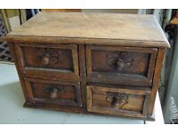 solid oak antique mini chest of drawers spice cupboard jewelry box