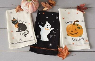 New Set of 3 Mud Pie HALLOWEEN SEQUIN Hand Towels White Black Embroidered Decor](Halloween Pie Decorations)