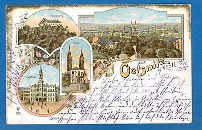 Oelsnitz, Farb-Litho mit 4 Ansichten, 1908