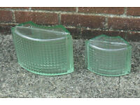 26 Reclaimed Vintage Art Deco curved glass blocks glass bricks 2 different sizes VGC