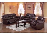 London Bonded Brown Leather recliner sofa 3 +2 seater