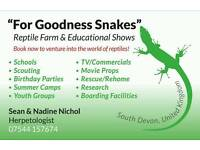 FOR GOODNESS SNAKES REPTILE FARM AND EDUCATION SHOWS PRESENTS THE ZOO THAT COMES TO YOU