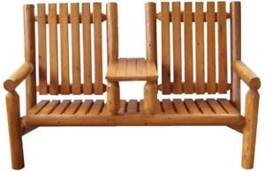 Amish Handcrafted White Cedar Wood Gliding Bench for Porch,fire pit,patio,deck,etc. - FREE SHIPPING