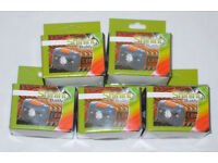 5 x SHINING BUDDY LATEST HALO FACED LED HEAD LAMP RED & WHITE LIGHT BLACK ORANGE