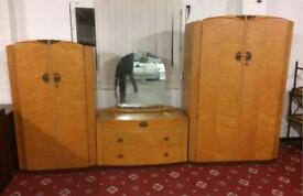 Walnut vintage wardrobe/dresser set