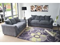 NEW FABRIC CORNER SOFA OR 3 AND 2 SEATER SOFA SETTEE COUCH SUITE FAUX LEATHER BLACK BROWN GREY