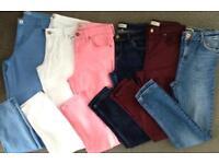6 pairs of women's size 12 jeans , topshop, riverisland etc