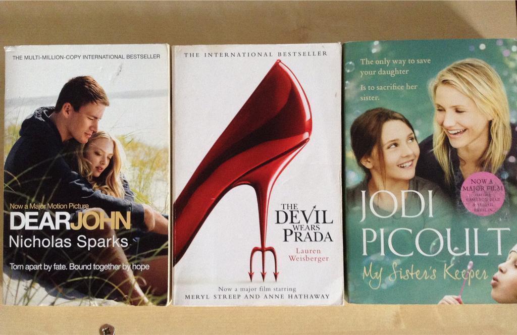 3 paperback books - Dear John, The Devil wears Prada and My Sister's Keeper