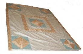 Handmade Patchwork Gold & Cream Cotton satin Fabrics, Throwover Quilted Double Bed Cover.