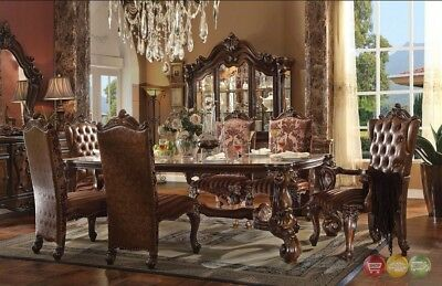 "Versailles Formal 9 Piece Formal Dining Room 84"" Table & Chair Set in Cherry Oak"