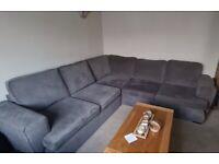Grey corner sofa and love chair
