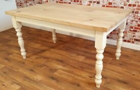 Oak Chunky European Rustic Wood Kitchen Dining Table Natural Farmhouse Full Stave - Free Delivery