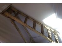 TALL VINTAGE WOODEN SIX TREAD FOLDING STEP LADDERS BEAUTIFULLY AGED