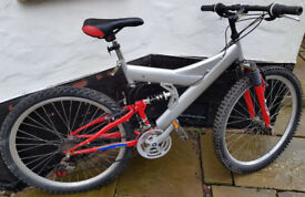 """ADULT FULL SUSPENSION 21-Speed Mountain Bike, CHEAP MTB! About 22""""–23"""" (56cm–58cm) Frame size."""