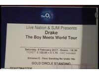 x3 Drake @ the O2 London Sat 4th Feb 17 ** GOLD CIRCLE STANDING** PREMIUM PLATINUM TICKETS