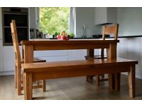 French Oak Furniture, Complete Set - Bookcase, Drawers, Mirror, TV Unit, Dining Table, Chairs, Bench