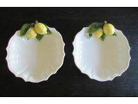 "A pair of gorgeous Italian ornate fruit/salad bowls. 10"" with lemons"