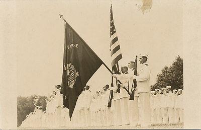 Kings Point NY * USMMA 1940s RPPC Review & Parade Flags Merchant Marine