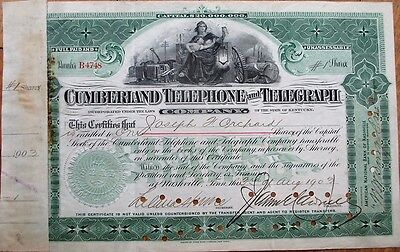 'Cumberland Telephone & Telegraph Co.' 1903 Stock Certificate-Nashville, TN & KY