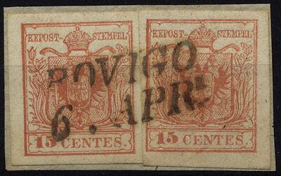 LOMBARDEI-VENETIEN 1850 2*15C, RANDDRUCK links! ROVIGO. Schönes Stück!