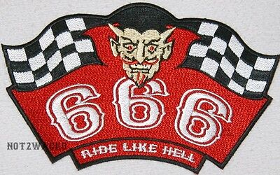 Outlaw Biker 1%er Red And White 666 Ride Like Hell Patch