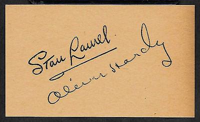 Laurel & Hardy Autograph Reprint On Genuine Original Period 1930s 3x5 Card