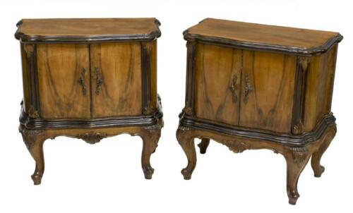 HANDSOME (2) VENETIAN WALNUT FINISH SIDE CABINETS, early 1900s