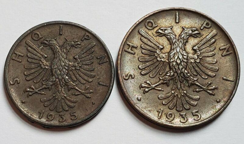 1935 Albania 1 & 2 Qindar Ar Collectible Coins