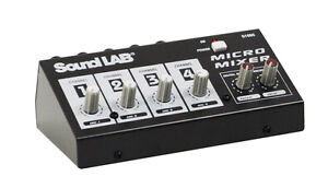 Soundlab Compact Portable 4 Channel Mono DJ Party Microphone Mixer With Effects