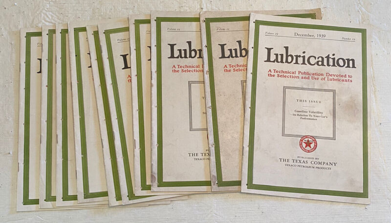 Lubrication Magazine Texaco Monthly Technical Publication Lot of 10 1938-1939